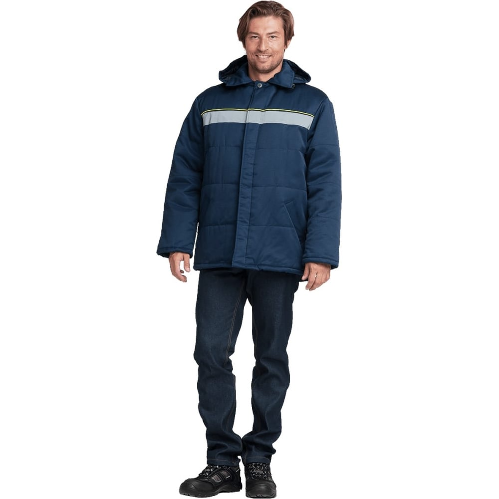 Утеплённая куртка гк спецобъединение евротелогрейка темно-синяя, р.120-124, рост 182-188 кур 308/120/182Утепленные куртки<br>Вес: 1.4 кг;<br>Тип: мужская ;<br>Цвет: темно-синий ;<br>Max температура: -18 °C;<br>Ткань: смесовая ;<br>Состав ткани: 20% хлопок, 80% полиэфир ;<br>Плотность ткани: 210 г/кв.м;<br>Размер: 60-62 ;<br>Рост: 182-188 ;<br>Пропитка: водоотталкивающая ;<br>Капюшон: есть ;<br>Тип застежки: пуговицы ;<br>ГОСТ\ТУ: ГОСТ Р 12.4.236-2011 ;<br>Единиц в упаковке: 1 шт.;<br>Защитные свойства: от пониженных температур воздуха ;<br>Утеплитель: синтепон ;<br>Международный размер: 5XL (60-62) ;<br>Светоотражающие элементы: есть ;