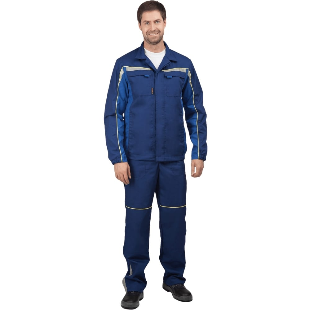 Костюм (куртка, полукомбинезон) гк спецобъединение форсаж темно-синий/василёк, р.104-108, рост 182-188 кос 591/104/182Рабочие костюмы<br>Тип: мужской с полукомбинезоном ;<br>Цвет: темно-синий/васильковый  ;<br>Ткань: ТОМБОЙ ;<br>Состав ткани: 33% хлопок, 67% полиэфир ;<br>Плотность ткани: 245 г/кв.м;<br>Размер: 52-54 (рост 182-188) ;<br>Рост: 182-188 см;<br>Световозвращающая полоса: есть ;<br>Капюшон: нет ;<br>Тип застежки: пуговицы ;<br>ГОСТ\ТУ: ГОСТ 12.4.280-2014 ;<br>Единиц в упаковке: 1 шт.;<br>Вес модели: 1.4 кг;<br>Защитные свойства: от общих производственных загрязнений, от истирания ;<br>Международный размер: XL (52-54) ;<br>Сигнальный: нет ;