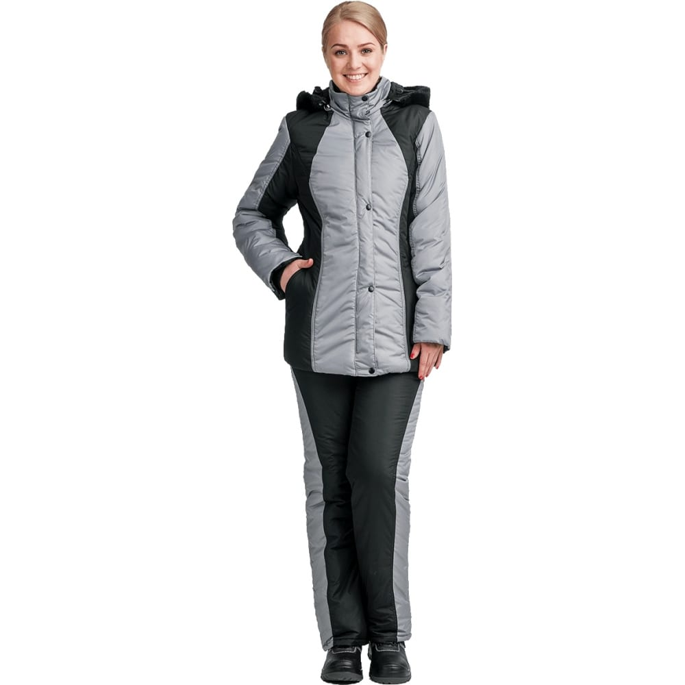 Женский утепленный костюм гк спецобъединение уралочка чёрный/серый, р.88-92, рост 170-176 кос 684/ 88/170Рабочие костюмы<br>Вес: 1.8 кг;<br>Цвет: чёрный/серый ;<br>Ткань: Dewspo ;<br>Состав ткани: 100% полиэфир ;<br>Плотность ткани: 90 г/кв.м;<br>Размер: 44-46 ;<br>Рост: 170-176 см;<br>Пропитка: водоотталкивающая, полиуретановая ;<br>Капюшон: есть ;<br>Тип застежки: молния ;<br>ГОСТ\ТУ: ГОСТ 25295-2003 ;<br>Единиц в упаковке: 1 шт.;<br>Защитные свойства: от пониженных температур ;<br>Утеплитель: климафорт ;<br>Международный размер: M (44-46) ;<br>Светоотражающие элементы: нет ;<br>Сигнальный: нет ;