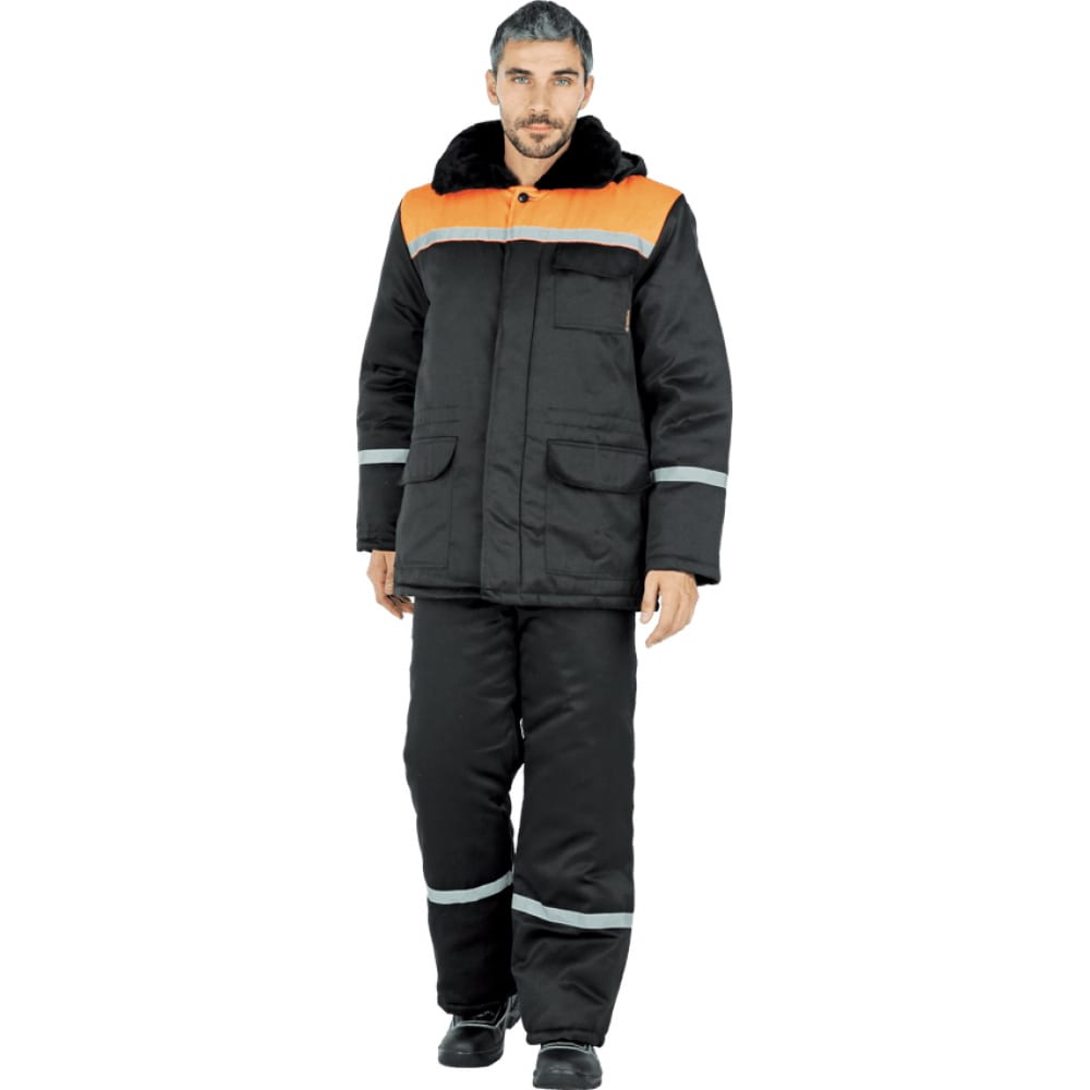 Утепленная куртка гк спецобъединение метелица черно-оранжевая, р. 104-108, рост 170-176 кур 310/104/170Утепленные куртки<br>Вес: 1.5 кг;<br>Тип: мужская ;<br>Цвет: оранжевый/черный ;<br>Max температура: -18 °C;<br>Ткань: смесовая ;<br>Состав ткани: 20% хлопок, 80% полиэфир ;<br>Плотность ткани: 210 г/кв.м;<br>Размер: 52-54 ;<br>Рост: 170-176 ;<br>Пропитка: водоотталкивающая ;<br>Капюшон: есть ;<br>Тип застежки: пуговицы ;<br>ГОСТ\ТУ: ГОСТ Р 12.4.236-2011 ;<br>Единиц в упаковке: 1 шт.;<br>Защитные свойства: от пониженных температур воздуха ;<br>Утеплитель: синтепон ;<br>Международный размер: XL (52-54) ;<br>Светоотражающие элементы: есть ;