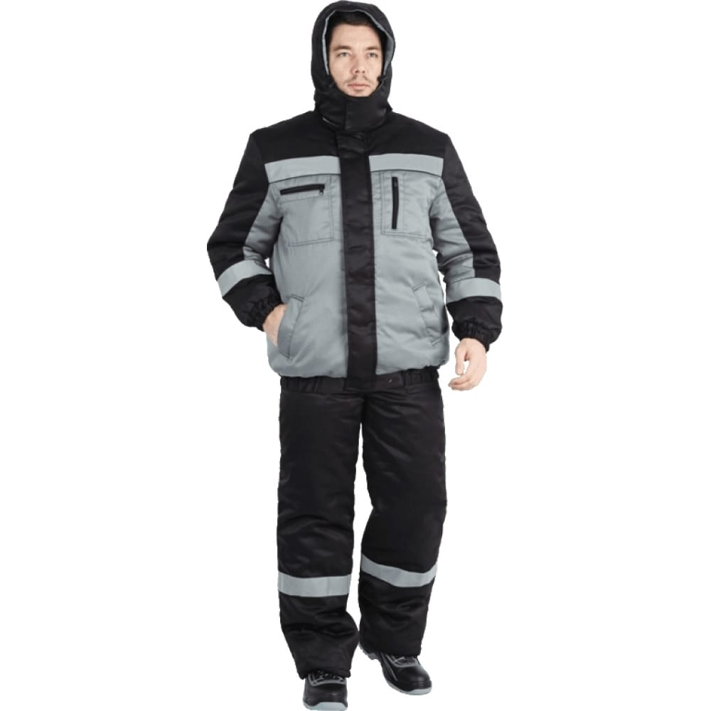 Утепленный костюм гк спецобъединение байкал серый/чёрный, р.96-100, рост 170-176 кос 312/ 96/170Рабочие костюмы<br>Тип: мужской с полукомбинезоном ;<br>Ткань: смесовая ;<br>Утеплитель: синтепон ;<br>Max температура: -18 °C;<br>Состав ткани: 20% хлопок, 80% полиэфир ;<br>Плотность ткани: 210 г/кв.м;<br>Размер: 48-50 ;<br>Рост: 170-176 см;<br>Пропитка: водоотталкивающая ;<br>Капюшон: есть ;<br>Тип застежки: молния ;<br>Цвет: серый/чёрный ;<br>ГОСТ\ТУ: ГОСТ Р 12.4.236-2011 ;<br>Вес: 3 кг;<br>Международный размер: M (48-50) ;<br>Сигнальный: нет ;<br>Светоотражающие элементы: есть ;<br>Единиц в упаковке: 1 шт.;<br>Защитные свойства: от пониженных температур воздуха ;