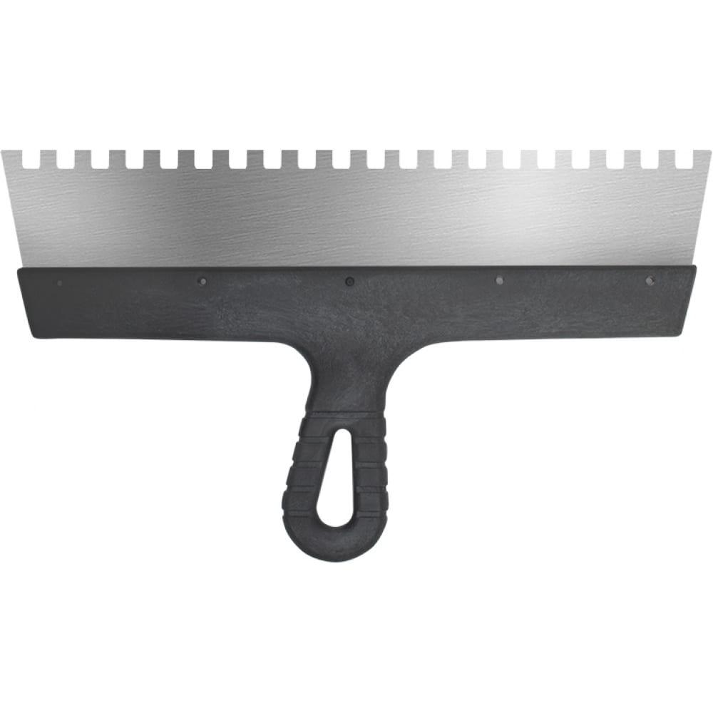 Купить Фасадный зубчатый шпатель (350 мм, нержавеющая сталь, 8 мм) biber 35234 тов-169785