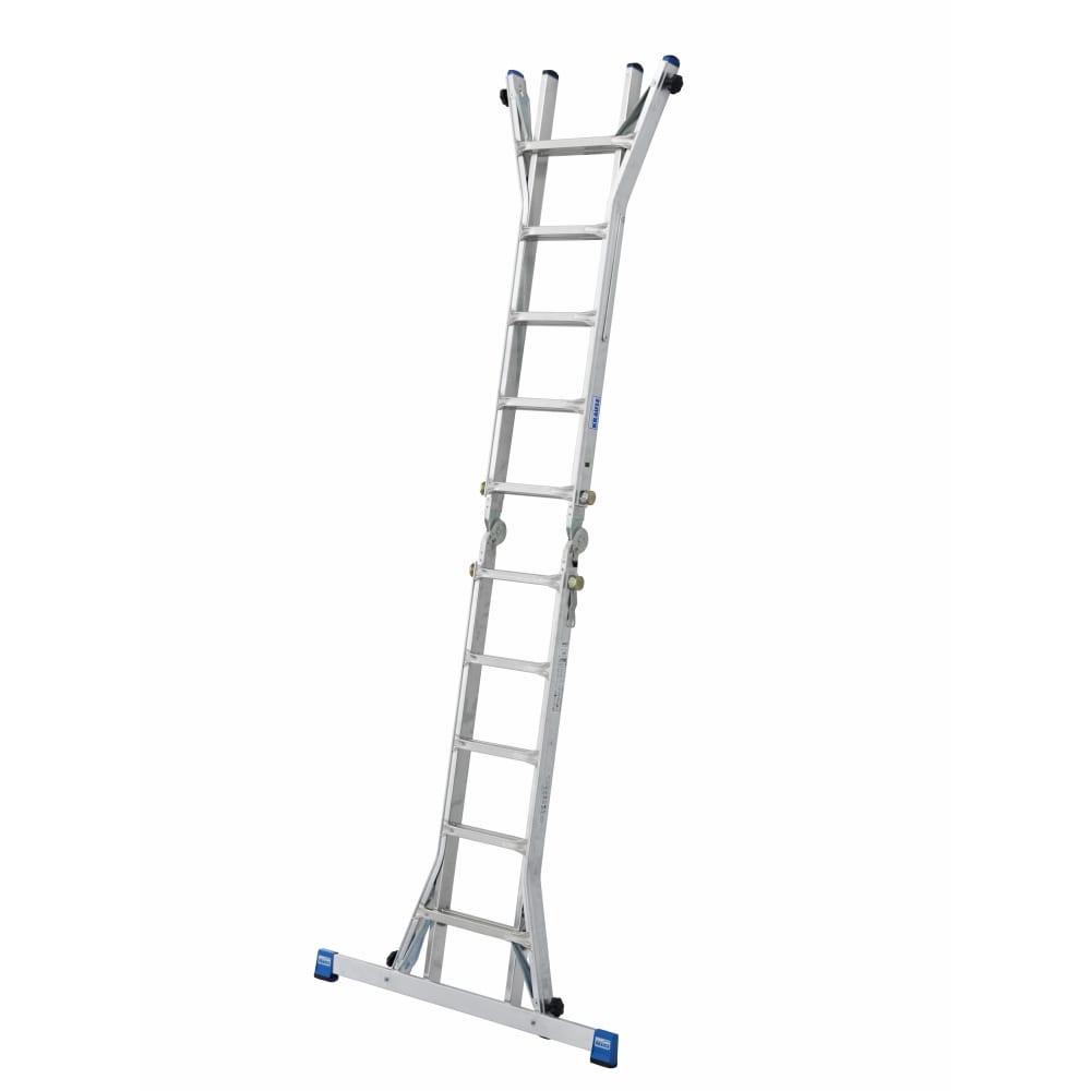 Купить Шарнирная телескопическая лестница krause stabilo с удлинителями боковин 4 х 4 перекладины 133977