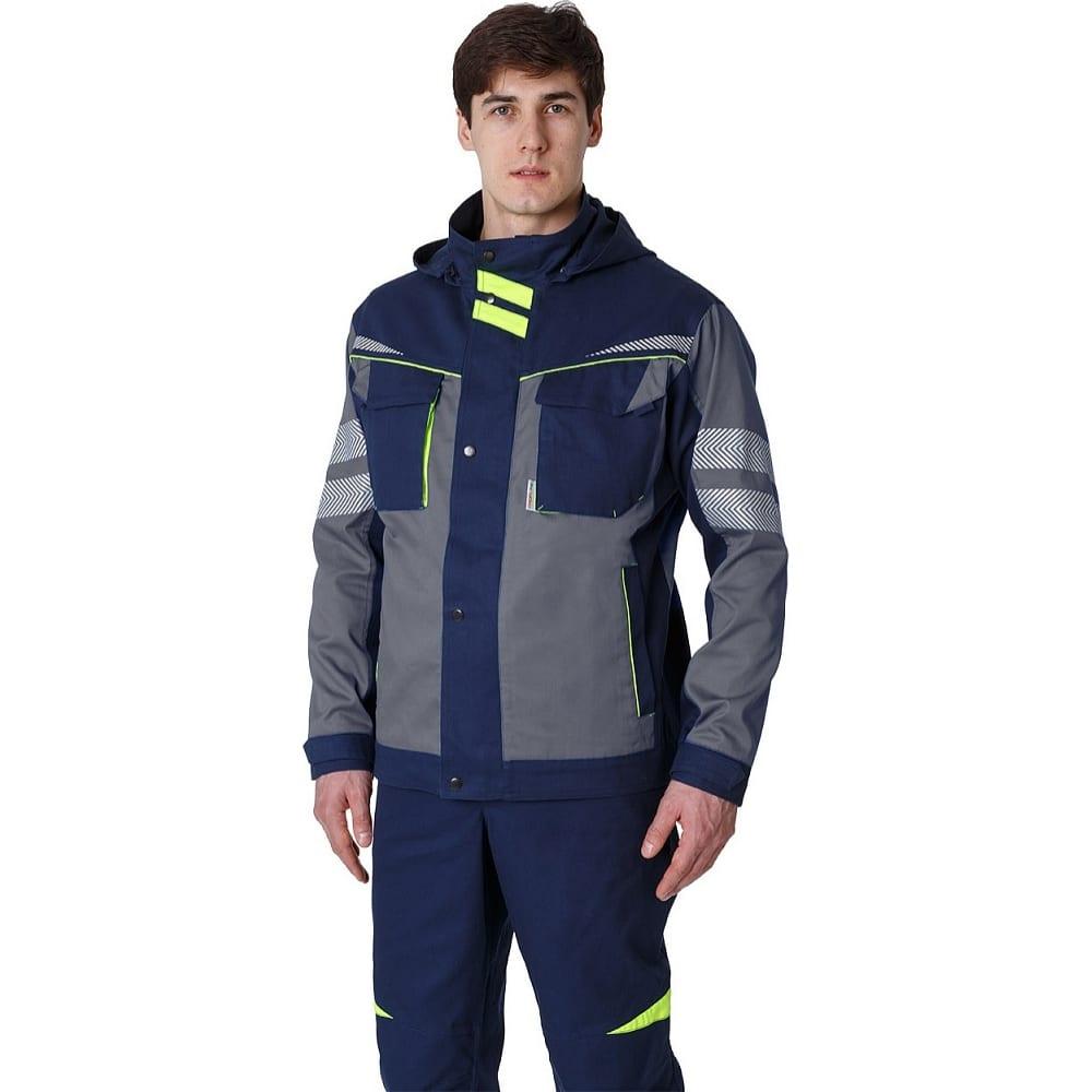 Укороченная мужская куртка факел profline specialist серый/темно-синий, размер 48-50, рост 182-188 87468810.004Куртки<br>Тип: мужская ;<br>Ткань: Балтекс 1 ;<br>Состав ткани: 65% - полиэстер, 35% -хлопок ;<br>Плотность ткани: 210 г/кв.м;<br>Размер: 48-50 ;<br>Рост: 182-188 см;<br>Пропитка: водоотталкивающая ;<br>Световозвращающая полоса: нет ;<br>Капюшон: есть ;<br>Тип застежки: кнопки ;<br>ГОСТ\ТУ: ГОСТ 12.4.280-2014 ;<br>Единиц в упаковке: 1 шт.;<br>Цвет: серый/темно-синий ;<br>Международный размер: M (48-50) ;<br>Защитные свойства: защита от общих производственных загрязнений,  защита от истирания ;