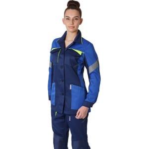 Фото. Женская удлиненная куртка факел profline base темно-синий/васильковый р 52-54 рост 170-176 874687