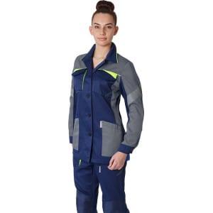 Фото. Женская удлиненная куртка факел profline base темно-синий/серый р 48-50 рост 158-164 87468750005