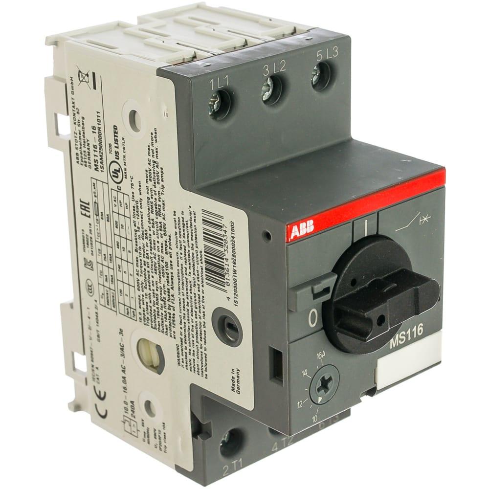 Автоматический выключатель защиты двигателя abb ms-116-16.0 16ka 1sam250000r1011