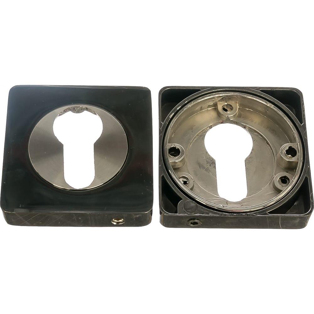 Купить Накладка на цилиндр к ручкам bk al 02 (черный никель/никель матовый) puerto et al 02 bn/sn
