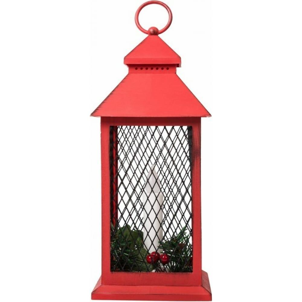 Декоративный фонарь со свечкой и хвойными веточками
