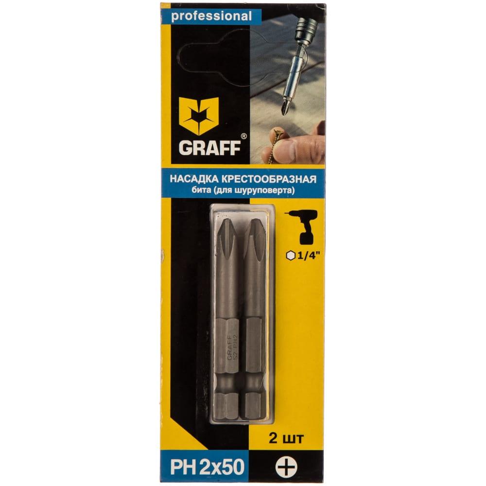 Бита (2 шт; ph2; 50 мм; блистер) для шуруповерта graff gbph0250  - купить со скидкой