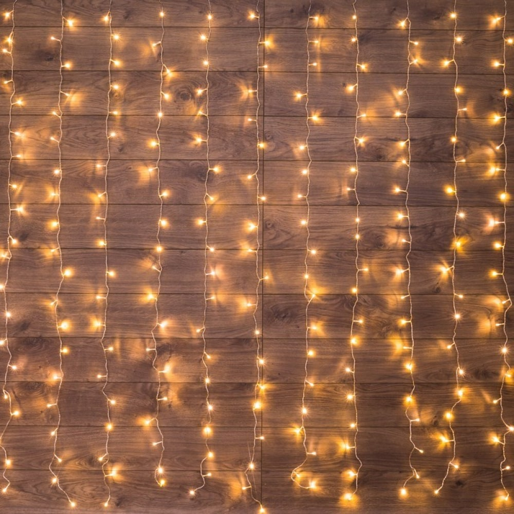 Гирлянда neon-night дождь (занавес) 2.5x2 м, прозрачный пвх, 300 led тепло-белые, ip20 235-056