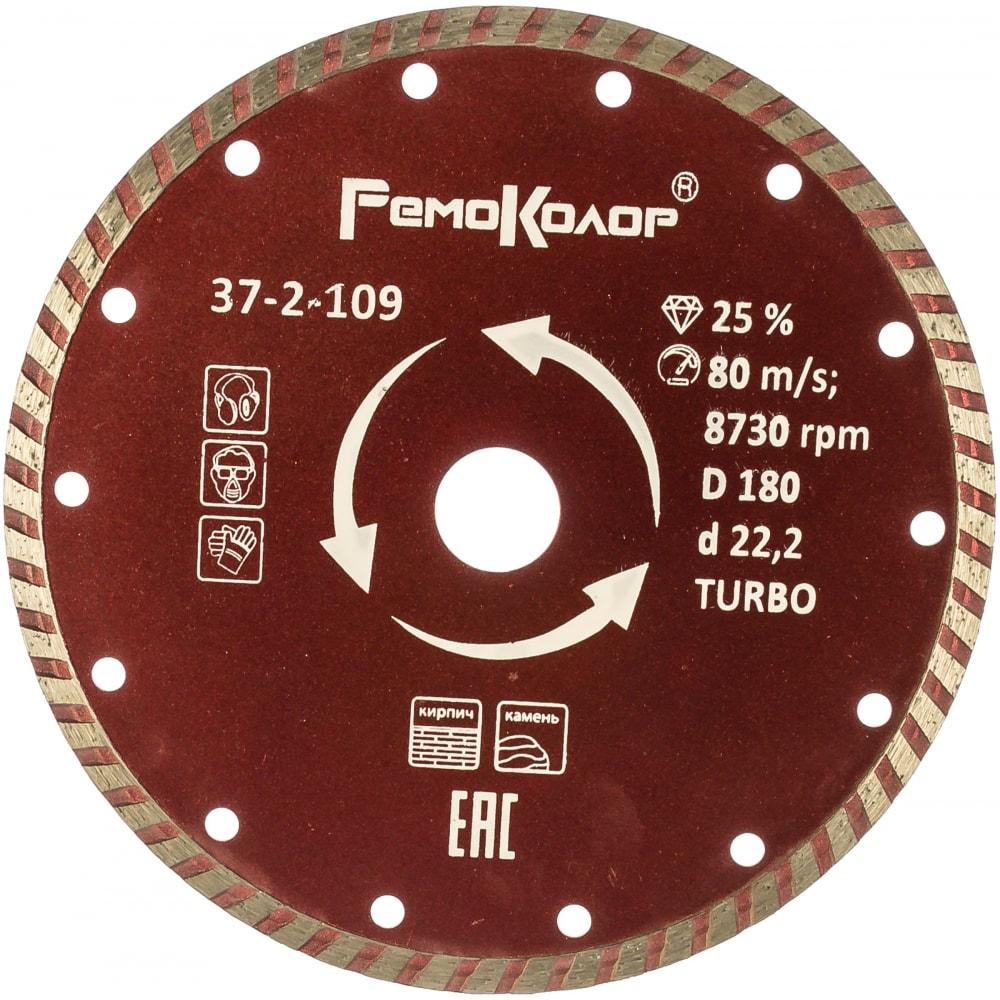 Купить Диск отрезной алмазный универсальный турбо (180х22.2 мм) ремоколор 37-2-109
