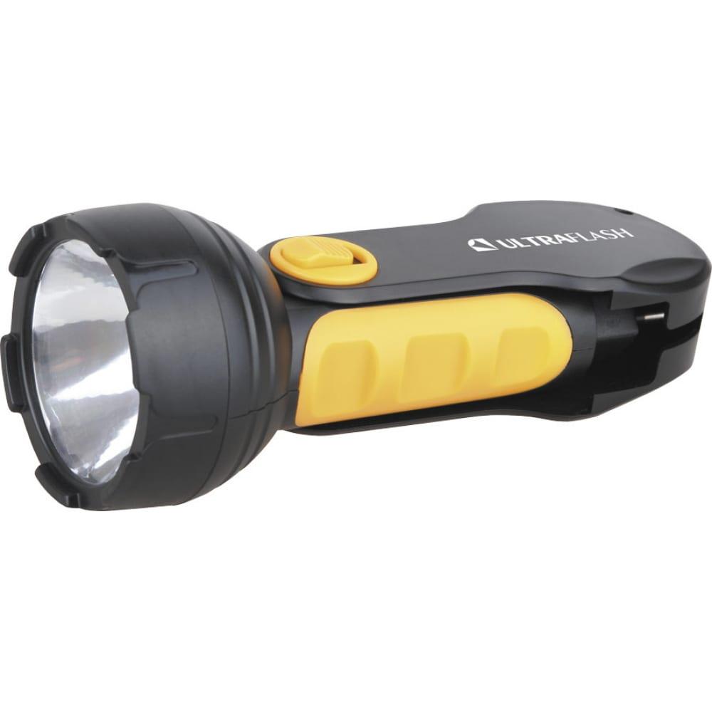 Фонарь ultraflash led3828 (аккум 220в, черный/желтый, 1led 0,5вт, sla, пласт, склад. вил коробка) 10922