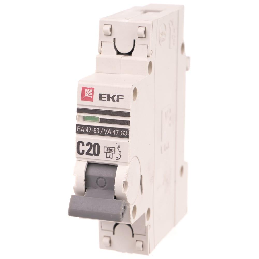 Автоматический однополюсный выключатель ekf 20а с ва47-63 4.5ка proxima 1412281