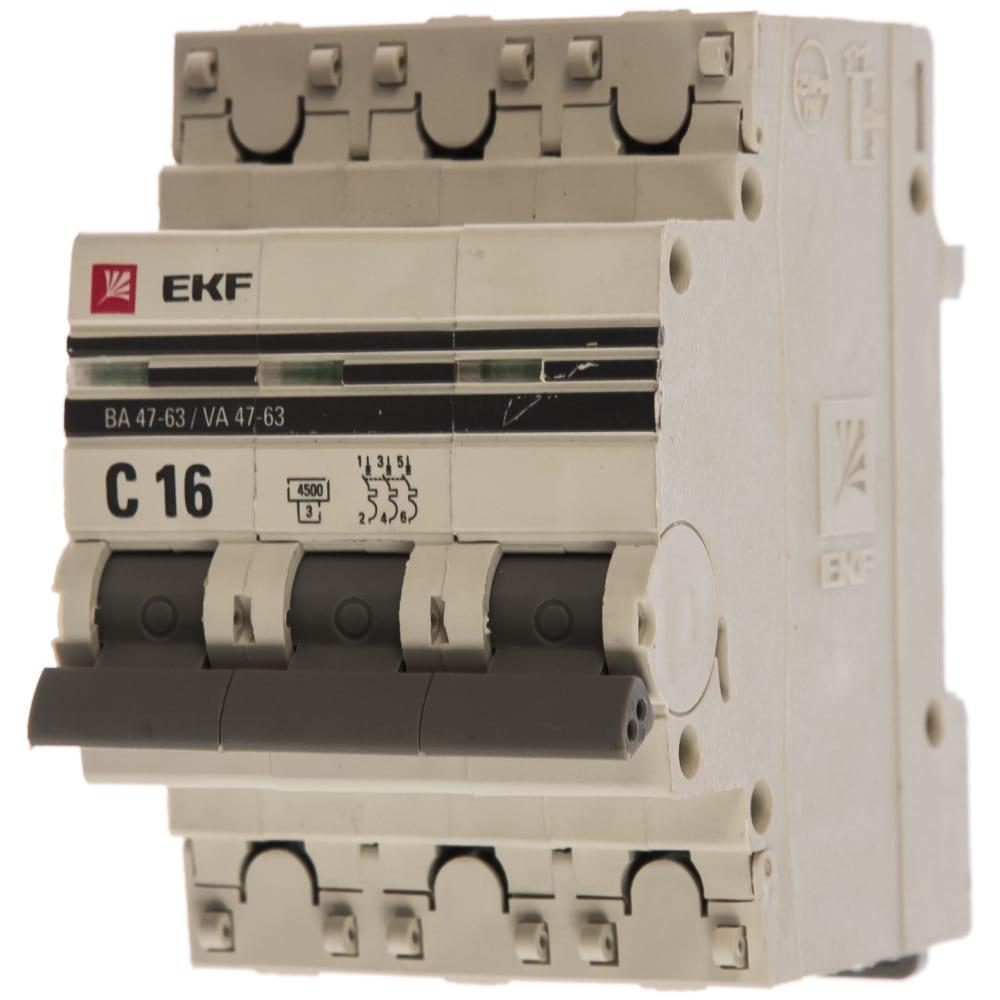 Автоматический трехполюсный выключатель ekf 16а с ва47-63 4.5ка proxima 2100603