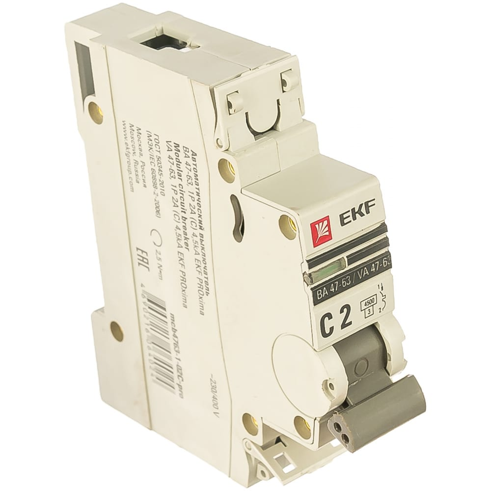 Автоматический однополюсный выключатель ekf 2а с ва47-63 4.5ка proxima 5401314