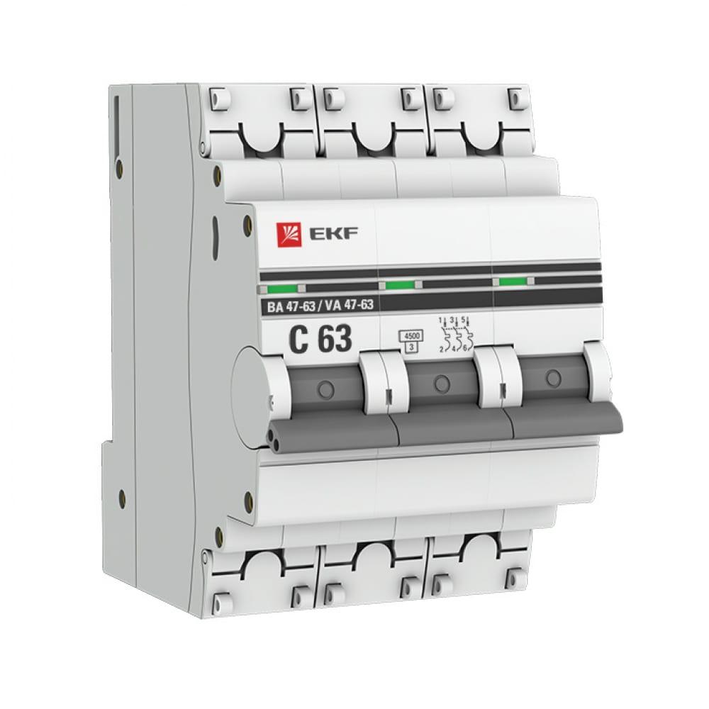 Автоматический трехполюсный выключатель ekf 20а с ва47-63 4.5ка proxima 4843921