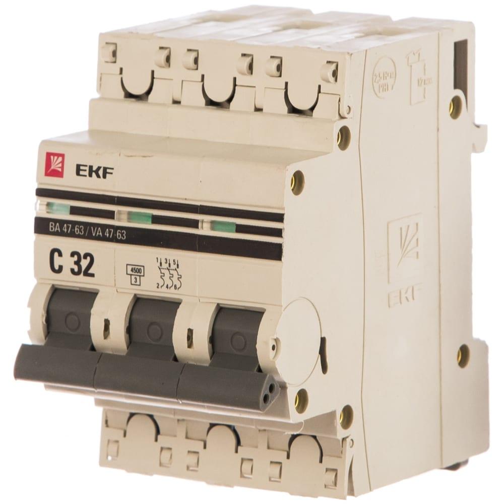 Автоматический трехполюсный выключатель ekf 32а с ва47-63 4.5ка proxima 8189103