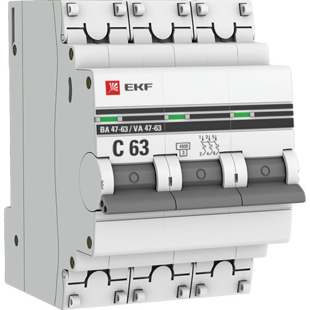 Купить Автоматический трехполюсный выключатель ekf 6а с ва47-63 4.5ка proxima 958575