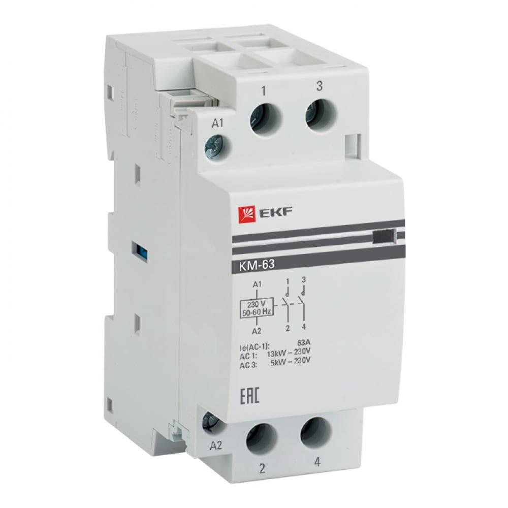 Модульный 2-полюсный контактор ekf 63а 220в 2но km-2-63-20 8156227.