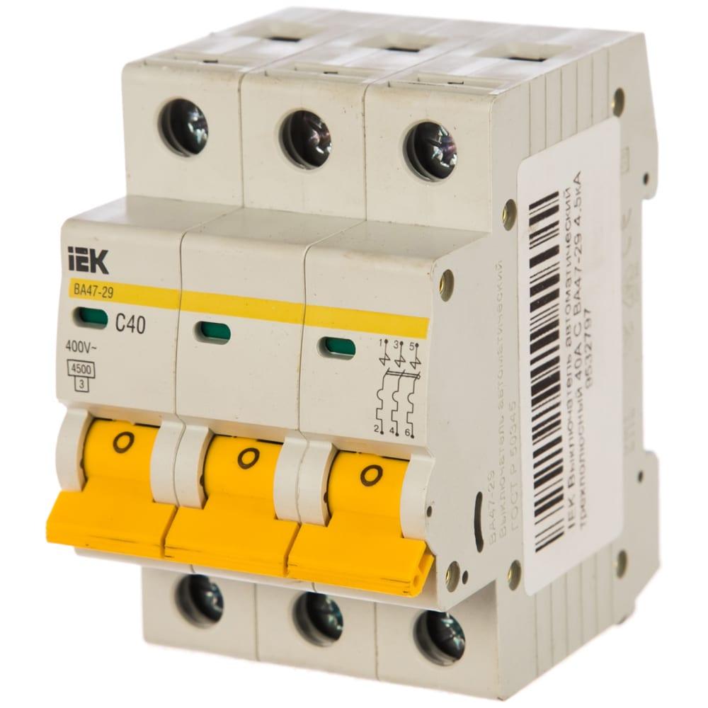 Автоматический трехполюсный выключатель iek ва47-29 40а c 4.5ка 9532797