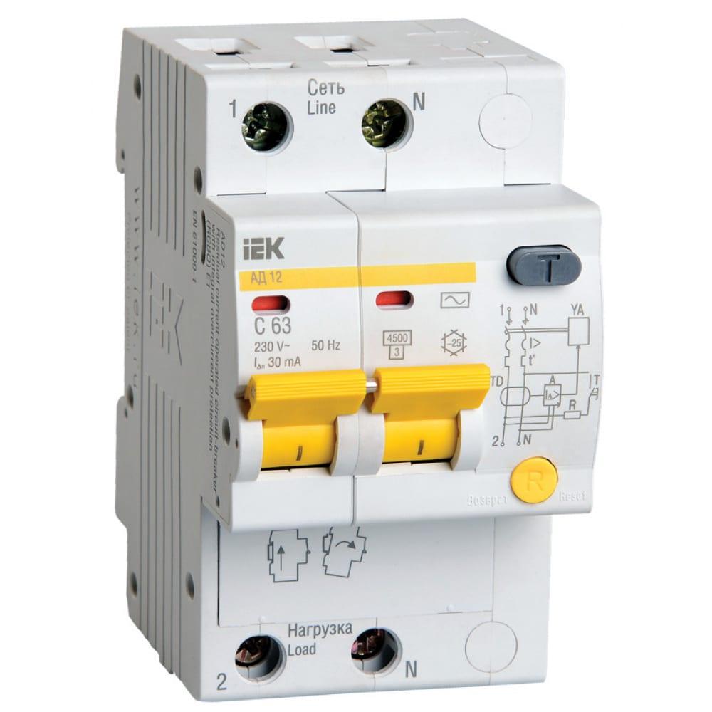 Автоматический дифференциальный выключатель iek ад-12 2п 10а 30ма с 9688916