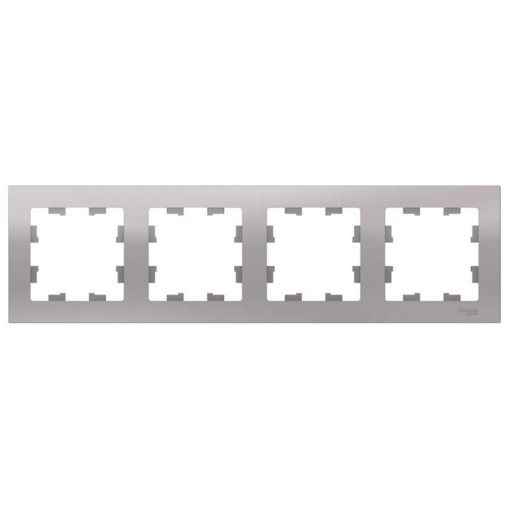 Рамка schneider electric 4-м atlas design универсальная, алюминий atn000304 1240223