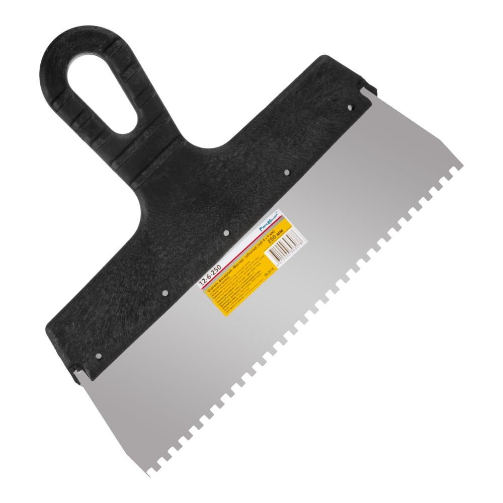 Купить Фасадный зубчатый шпатель (250 мм, зуб.4x4 мм) ремоколор мастер 12-6-250