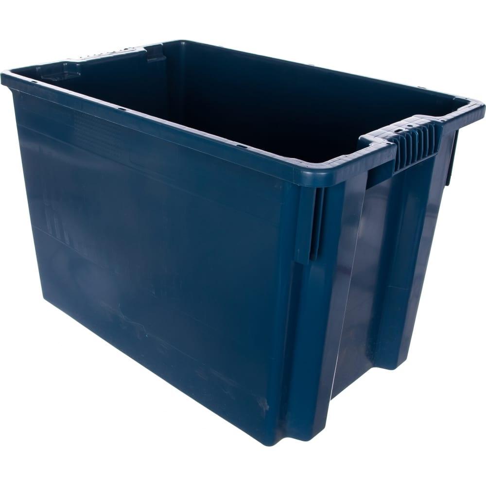 Сплошной ящик тара 600х400х400 мм, синий 05638