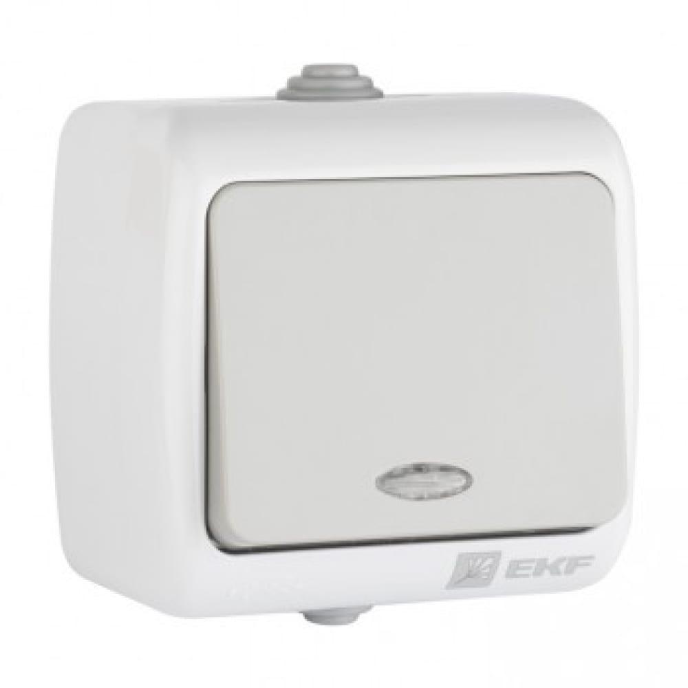 Купить Одноклавишный выключатель ekf мурманск с индикатором 10а серый 793501
