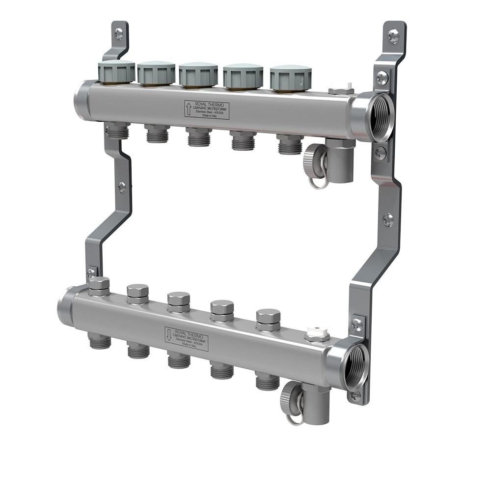 Купить Коллектор в сборе royal thermo нержавеющая сталь, универсальный 1 вр-3/4 нр, 5 выходов нс-1080929
