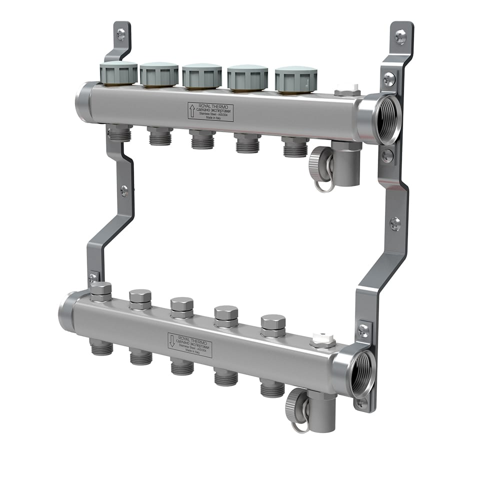 Купить Коллектор в сборе royal thermo нержавеющая сталь, универсальный 1 вр-3/4 нр, 7 выходов нс-1080936