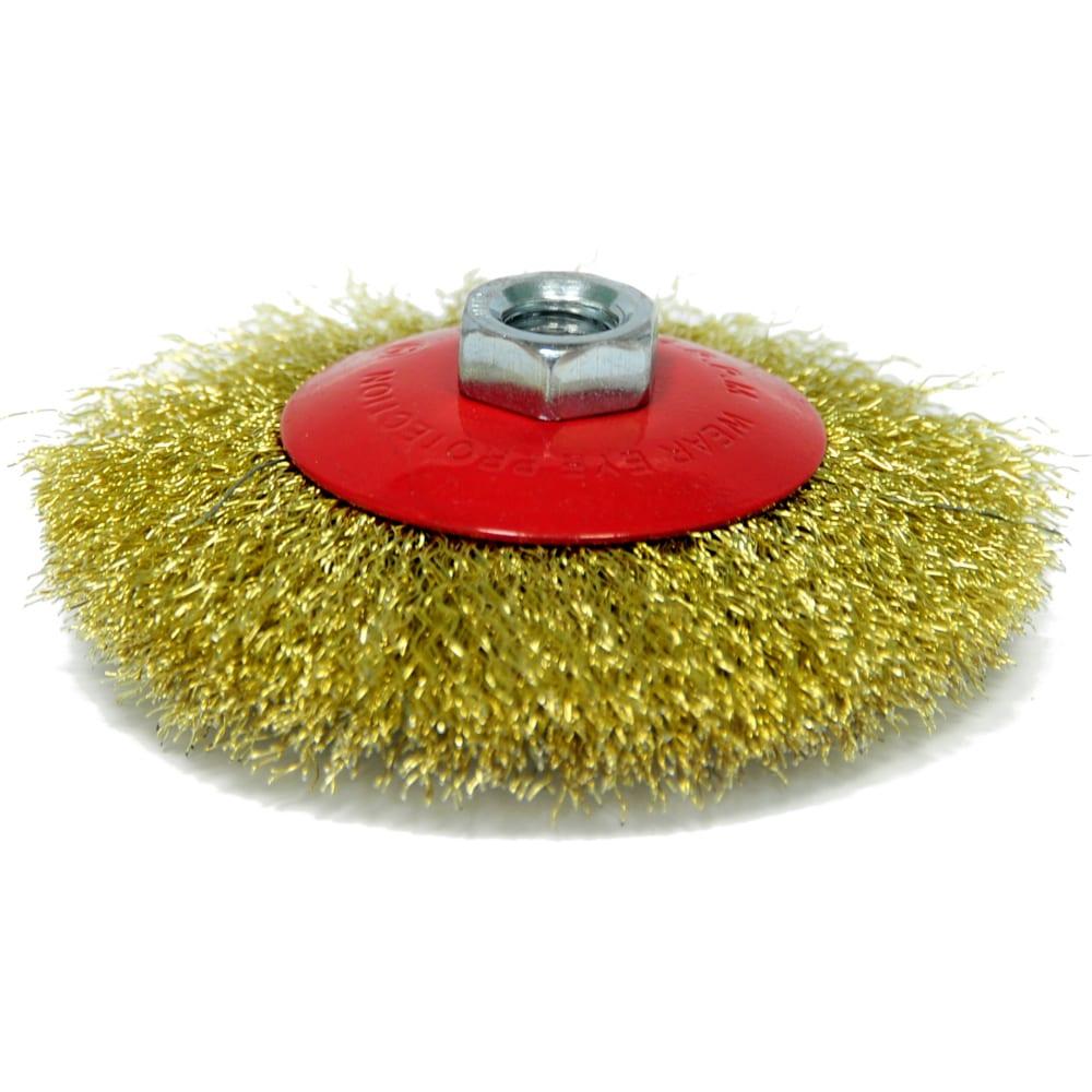 Купить Щетка тарельчатая (115 мм; м14; латунированная волнистая 0.35 мм) для ушм elitech 1820.075200