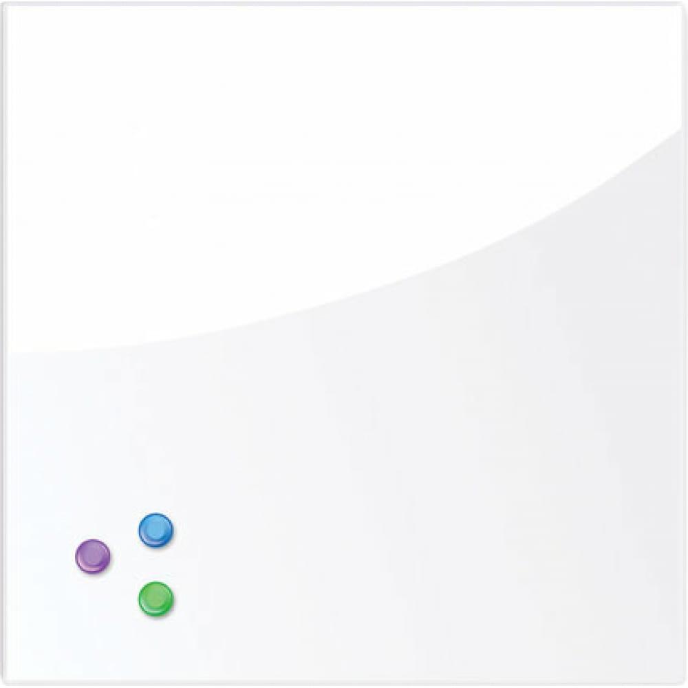Купить Магнитно-маркерная стеклянная доска, белая, 45х45 см, 3 магнита, brauberg 236735
