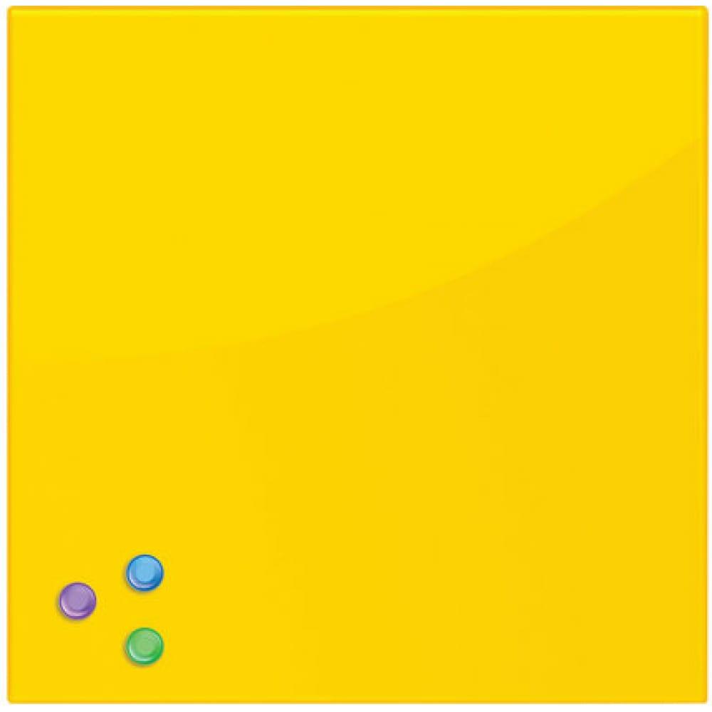 Купить Магнитно-маркерная стеклянная доска, желтая, 45х45 см, 3 магнита, brauberg 236739