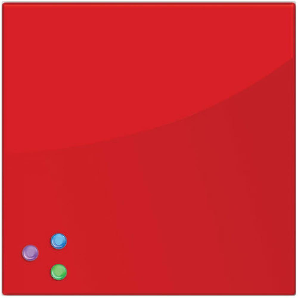 Купить Магнитно-маркерная стеклянная доска, красная, 45х45 см, 3 магнита, brauberg 236737