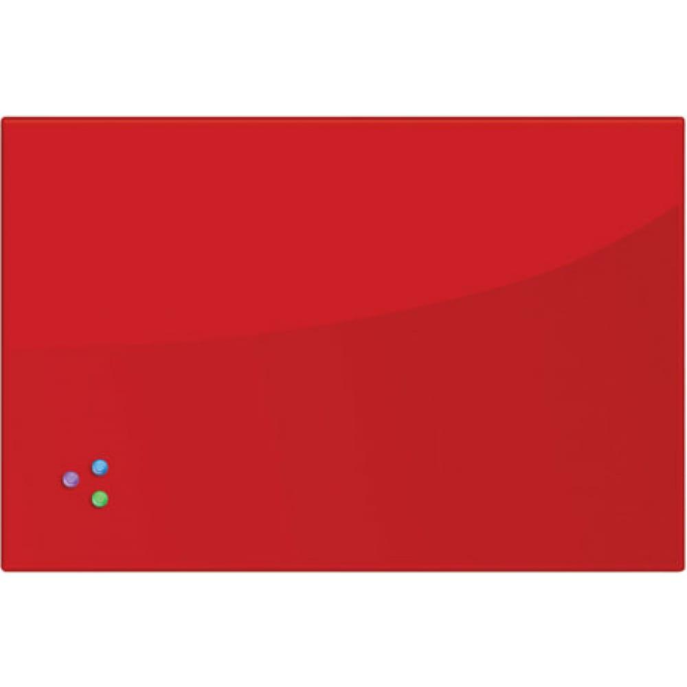 Магнитно маркерная стеклянная доска, красная, 60х90