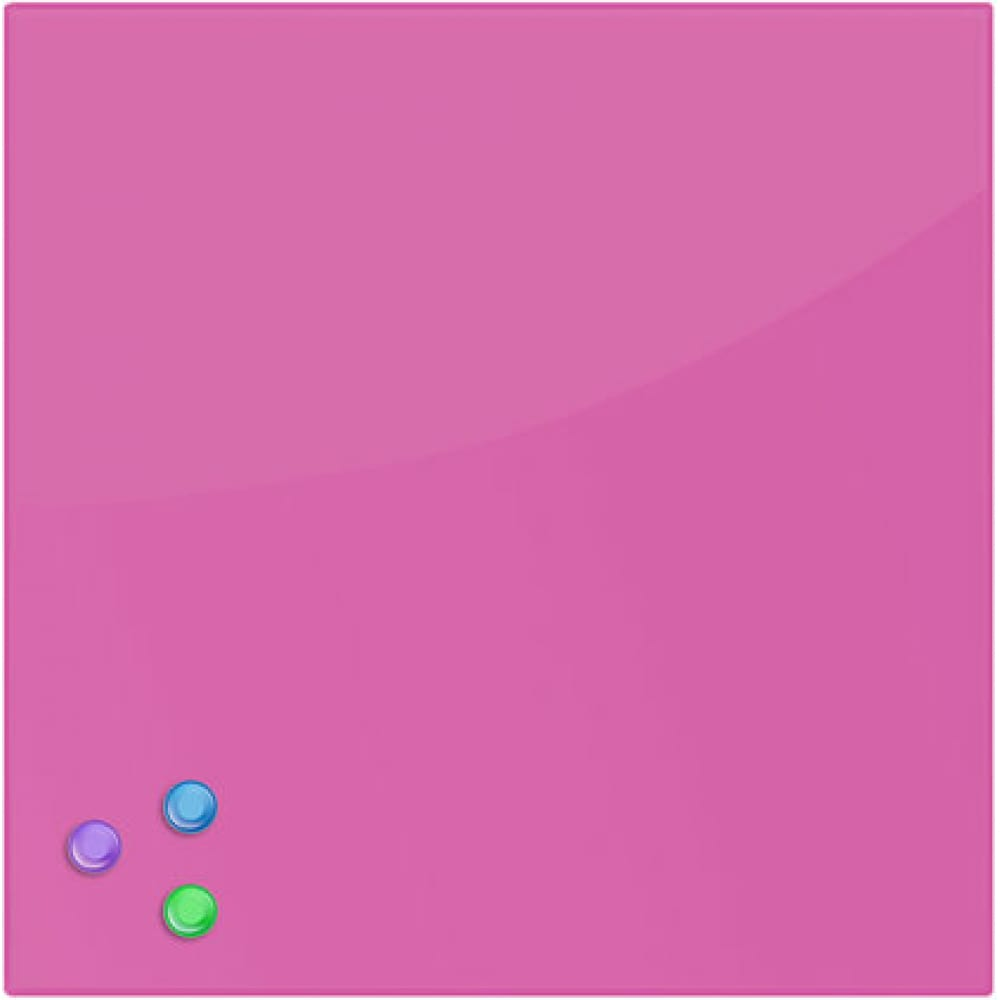 Купить Магнитно-маркерная стеклянная доска, розовая, 45х45 см, 3 магнита, brauberg 236742