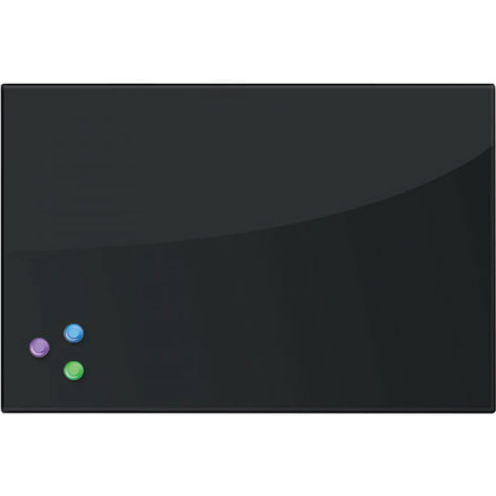 Купить Магнитно-маркерная стеклянная доска, черная, 40х60 см, 3 магнита, brauberg 236745