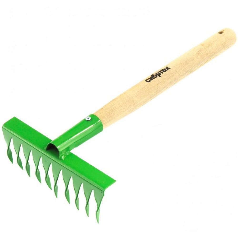 Купить Витые 10-зубые грабли с рукояткой, 180 мм, 300 мм сибртех р 61762