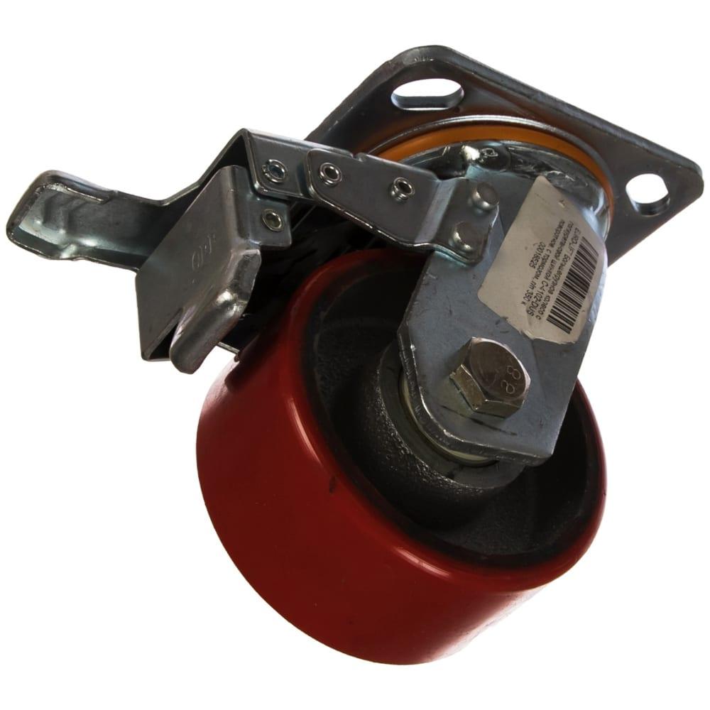 Купить Колесо большегрузное с полиуретановой шинкой с-4102-dus поворотное, с тормозом, г/п 350 кг, 99 мм euro-lift 00018525
