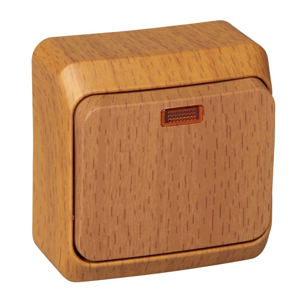 Одноклавишный выключатель schneider electric оп этюд дача 10а ip20 с индикацией, бук ba10-005t