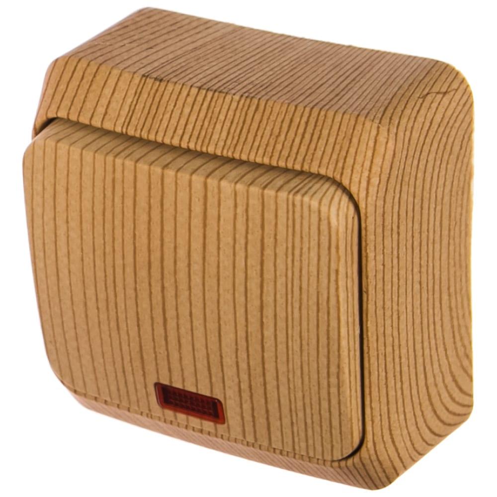 Одноклавишный выключатель schneider electric оп этюд дача 10а ip20 с индикацией, сосна ba10-005d