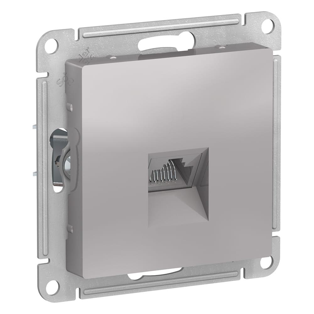 Механизм компьютерной розетки schneider electric atlas design rj45 алюминий atn000383  - купить со скидкой