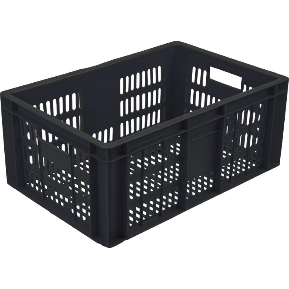 Колбасный ящик п/э 600х400х250 с перфорацией черный,