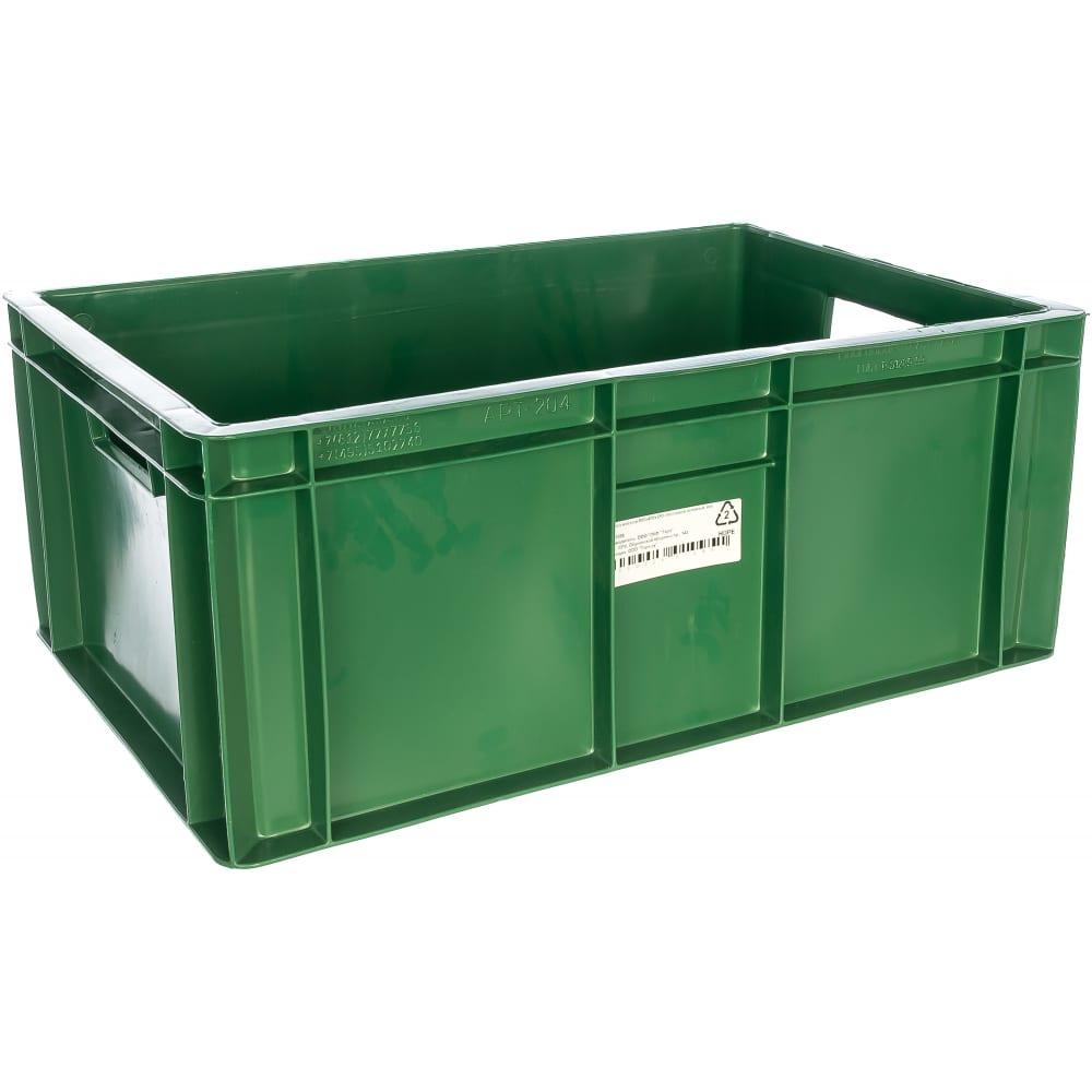 Мясной ящик п/э 600х400х250 сплошной зеленый,