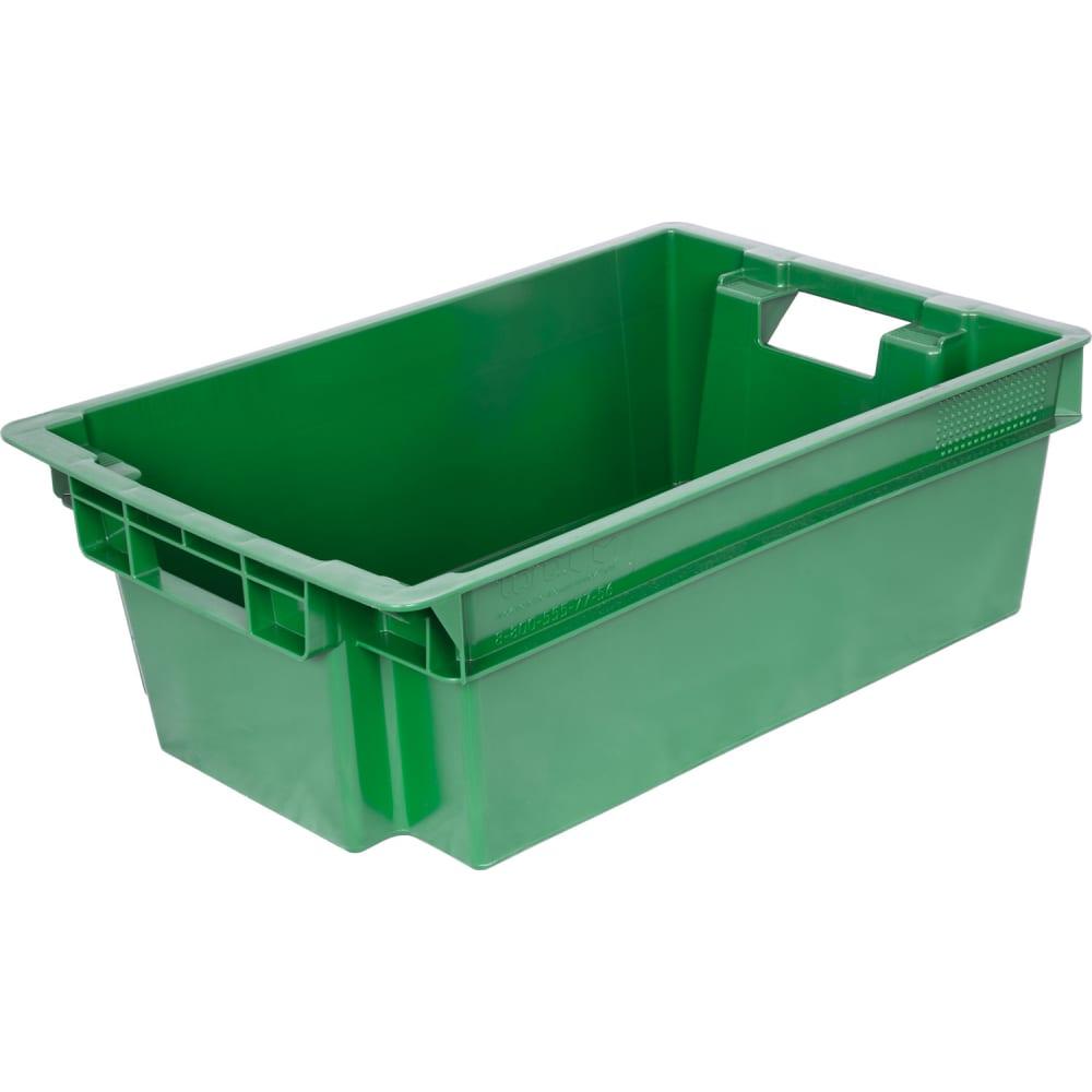 Мясной ящик п/э сплошной 600х400х200 зеленый,