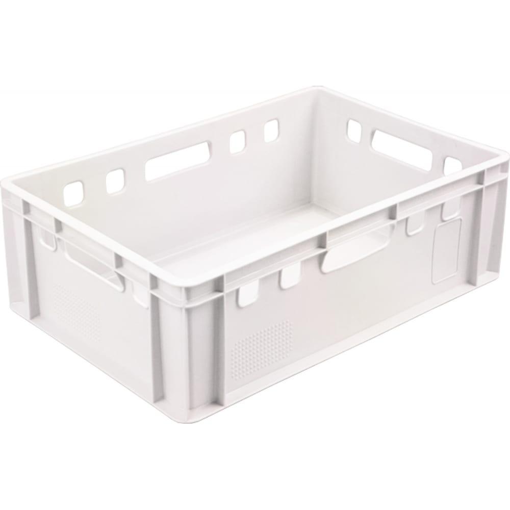 Купить Ящик п/э 600х400х200 сплошной, белый, морозостойкий тара.ру е2 01682