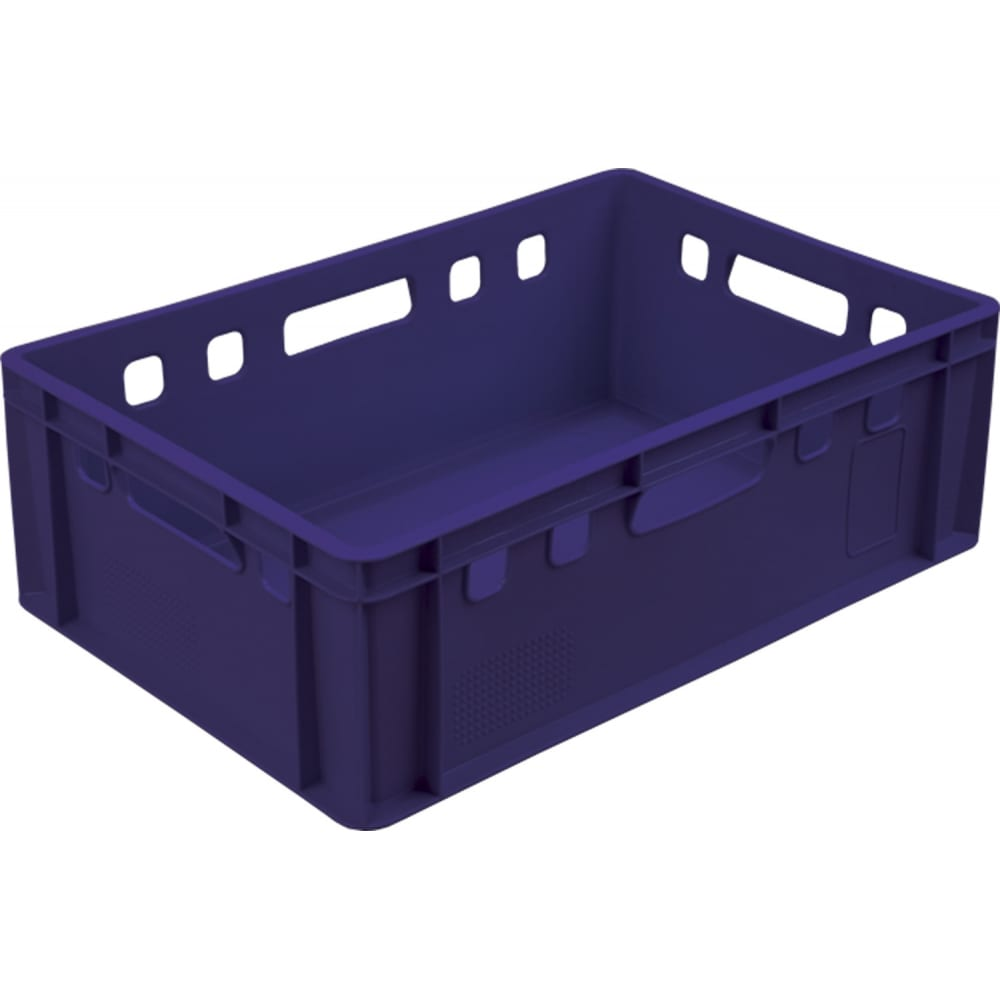 Купить Мясной ящик п/э 600х400х200 сплошной, синий тара.ру е2 00385