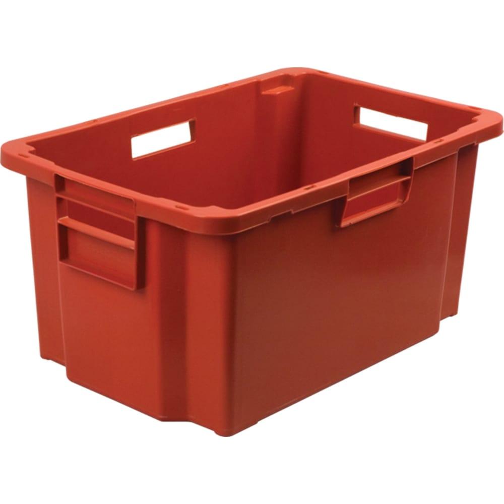 Мясной ящик п/э 600х400х300 сплошной, красный тара